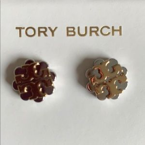 Tory burch stud earrings gold and silver tone